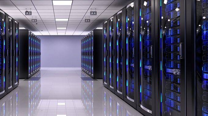 Bank of servers in a server room